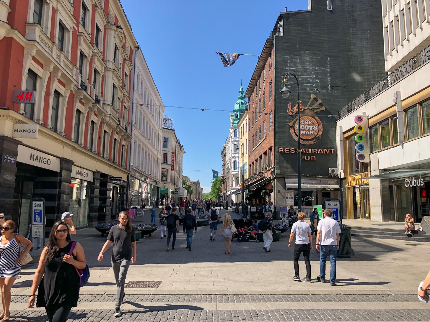 Karl Johans Gate is de hoofdstraat van Oslo